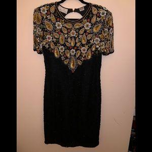 Vintage Laurence  Kazar Silk Sequins Evening Dress